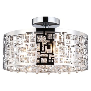 Crystorama Transitional 3-light Polished Chrome Semi-Flush Mount