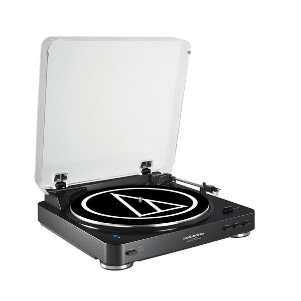 Audio Technica AT-LP60BK-BT Fully Automatic Bluetooth Wireless Belt-Drive Stereo Turntable (Black). Opens flyout.