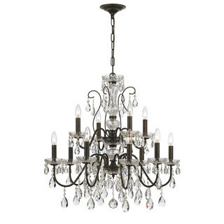 Crystorama Traditional 12-light English Bronze Chandelier