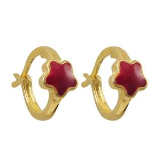 Luxiro Gold Finish Sterling Silver Children's Enamel Flower Hoop Earrings