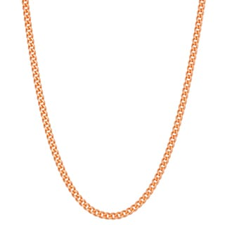 Gioelli Rose Goldplated Silver Curb Chain Necklace