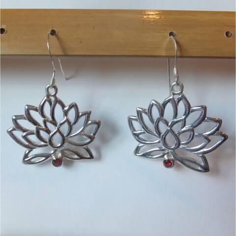 Handmade Silver & Garnet Lotus Flower Earrings by Spirit (Indonesia)