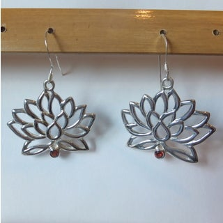 Spirit Sterling Silver Garnet Lotus Flower Dangle Earrings (Bali)