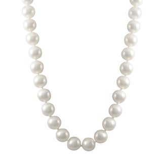 Luxiro Sterling Silver 11-mm Shiny Shell Pearl Strand Necklace