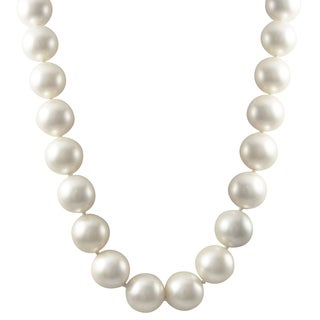 Luxiro Sterling Silver 14-mm Matte Shell Pearl Strand Necklace