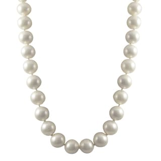 Luxiro Sterling Silver 11-mm Matte Shell Pearl Strand Necklace