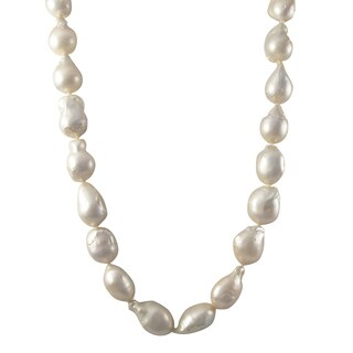 Luxiro Sterling Silver Baroque Shell Pearl Strand Necklace