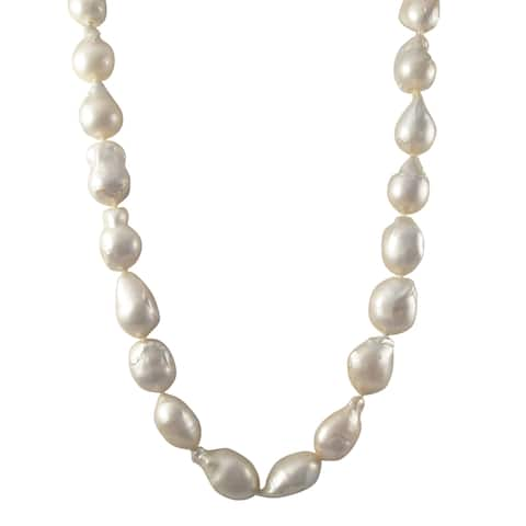 Luxiro Sterling Silver Baroque Shell Pearl Strand Necklace - White