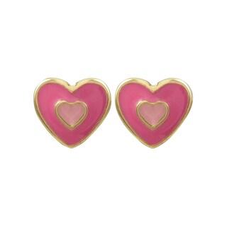 Luxiro Gold Finish Children's Enamel Heart Stud Earrings