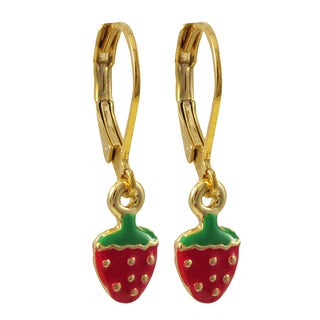 Luxiro Gold Finish Children's Enamel Strawberry Leverback Earrings