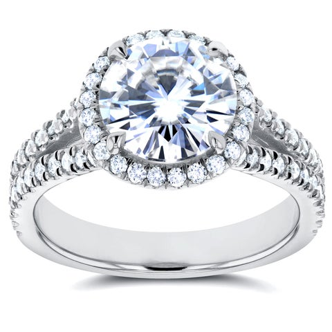 Annello by Kobelli 14k White Gold Forever One 1 7/8ct Moissanite and 1/2ct TDW Diamond Halo Engageme
