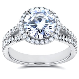 Annello by Kobelli 14k White Gold Forever One 1 7/8ct Moissanite and 1/2ct TDW Diamond Halo Engageme|https://ak1.ostkcdn.com/images/products/11710798/P18632937.jpg?_ostk_perf_=percv&impolicy=medium