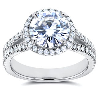 Annello by Kobelli 14k White Gold Forever One 1 7/8ct Moissanite and 1/2ct TDW Diamond Halo Engageme (More options available)