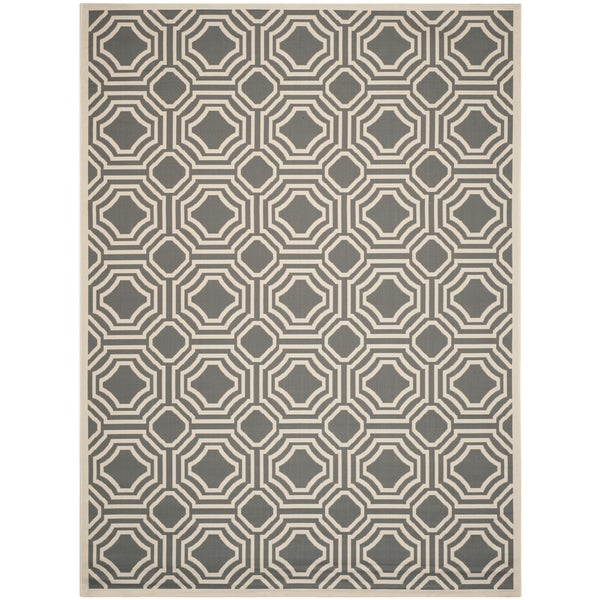 Safavieh Courtyard Anthracite/ Beige Indoor/ Outdoor Rug - 9' x 12'