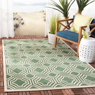 Safavieh Indoor/ Outdoor Courtyard Dark Green/ Beige Rug (9' x 12')