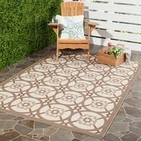 Safavieh Indoor/ Outdoor Courtyard Beige/ Dark Beige Rug - 8' x 11'