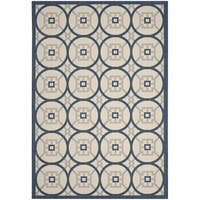 Safavieh Indoor/ Outdoor Courtyard Beige/ Navy Rug - 8' x 11'