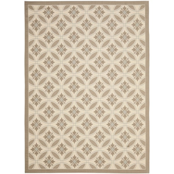 Safavieh Indoor/ Outdoor Courtyard Beige/ Dark Beige Rug (9' x 12')
