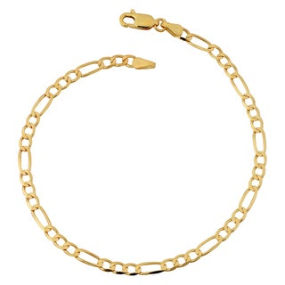 Fremada 10k Yellow Gold 3.3-mm High Polish Concave Figaro Link Anklet (10 inches)