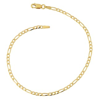 Fremada 10k Yellow Gold 2.3-mm High Polish Concave Figaro Link Anklet (10 inches)