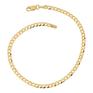 Fremada 10k Yellow Gold 3-mm High Polish Curb Link Anklet (10 inches)