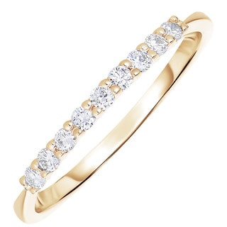 14k Yellow Gold 1/5ct TDW Diamond Wedding Band