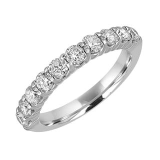 14k White Gold 1ct TDW Round Diamond Wedding Band - White H-I
