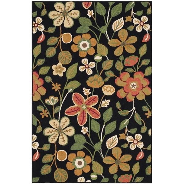 Safavieh Hand-Hooked Four Seasons Black/ Multicolored Polyester Rug - 8' x 10'