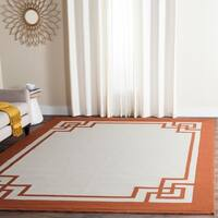 Safavieh Hand-Hooked Four Seasons Greek Key Off White/ Sangria Rug - 8' x 10'