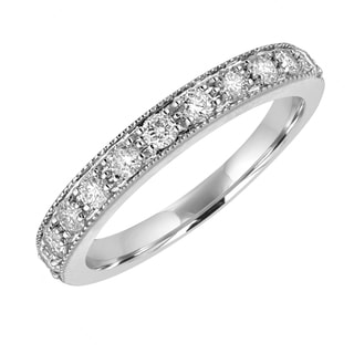 14k White Gold 1/2ct TDW Milgrain Diamond Wedding Band - White H-I