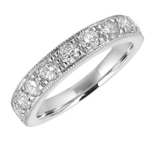14k White Gold 1ct TDW Milgrain Diamond Wedding Band - White H-I