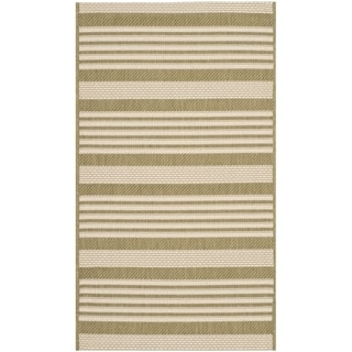 Safavieh Courtyard Stripe Green/ Beige Indoor/ Outdoor Rug (2' x 3' 7)