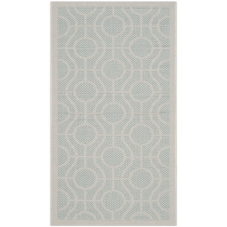 Safavieh Indoor/ Outdoor Courtyard Aqua/ Light Grey Rug (2' x 3' 7)