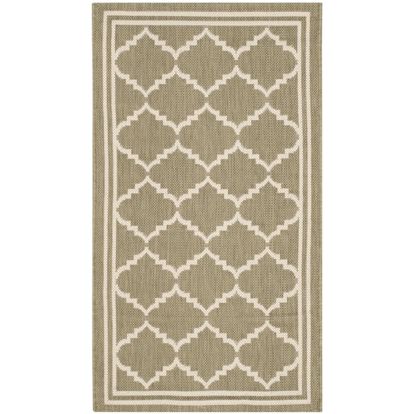 Safavieh Courtyard Transitional Green/ Beige Indoor/ Outdoor Rug (2' x 3' 7)