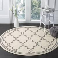 Safavieh Indoor/ Outdoor Amherst Ivory/ Grey Rug - 5' Round