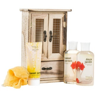 Freida and Joe Sweet Garden Bath and Body 4-piece Gift Set in Natural Wood Curio