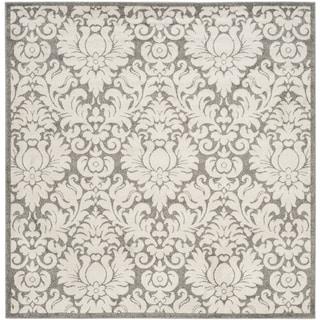 Safavieh Indoor/ Outdoor Amherst Dark Grey/ Beige Rug (9' x 9' Square)