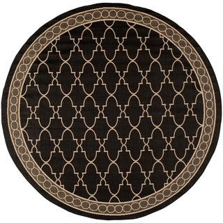 Safavieh Courtyard Trellis All-Weather Black/ Beige Indoor/ Outdoor Rug (7' 10 Round)