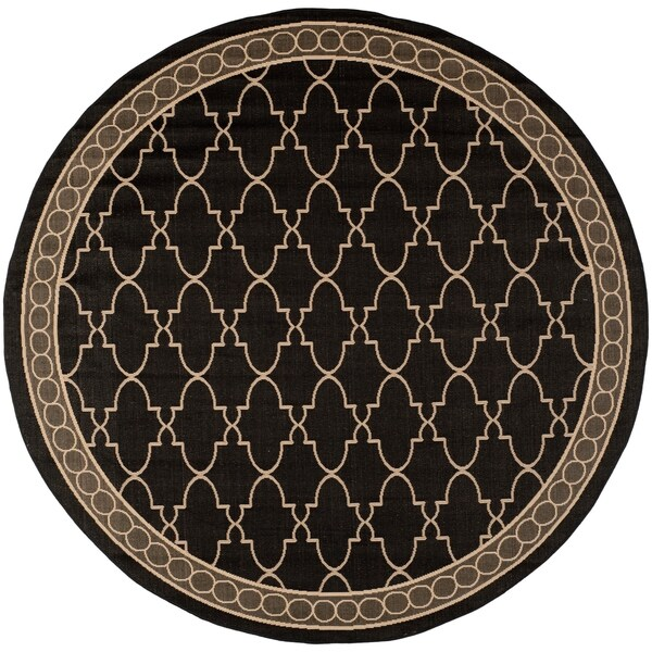 Round Outdoor Rugs For Patios: Shop Safavieh Courtyard Trellis All-Weather Black/ Beige