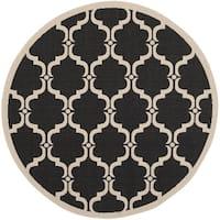 """Safavieh Courtyard Moroccan Black/ Beige Indoor/ Outdoor Rug - 5'3"""" x 5'3"""" round"""