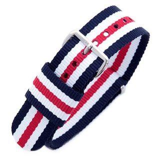 Daniel Wellington Men's Nylon Canterbury 0402DW Blue, White and Red Replacement Watch Strap