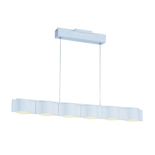 Billow 6-light LED Matte White Linear Pendant Light