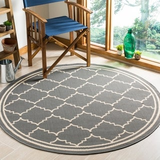 Safavieh Courtyard Transitional Grey/ Beige Indoor/ Outdoor Rug (5' 3 Round)