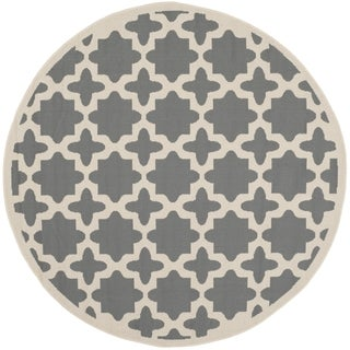 Safavieh Courtyard All-Weather Anthracite/ Beige Indoor/ Outdoor Rug (6' 7 Round)