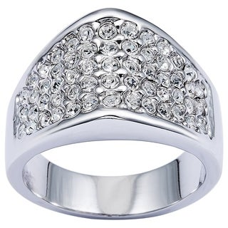 Simon Frank Rhodium Overlay Cubic Zirconia High Dome Micro Pave Ring