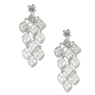 Sterling Silver 4 1/5ct TGW White Natural Zircon Chandelier Earrings
