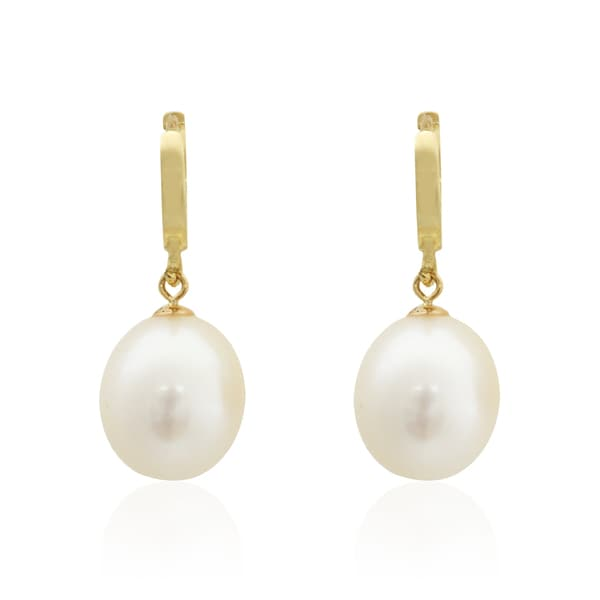 Pearlyta 14k Yellow Gold Teardrop Freshwater Pearl Hanging Earrings 8 9mm