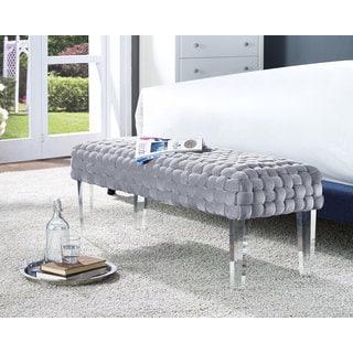 Sal Woven Grey Velvet Bench