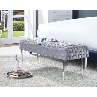 Sal Woven Grey Velvet Bench|https://ak1.ostkcdn.com/images/products/11711082/P18633184.jpg?impolicy=medium