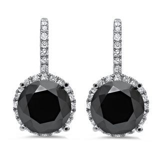 Noori 18k White Gold 5ct TDW Black Round-cut Diamond Leverback Drop Earrings